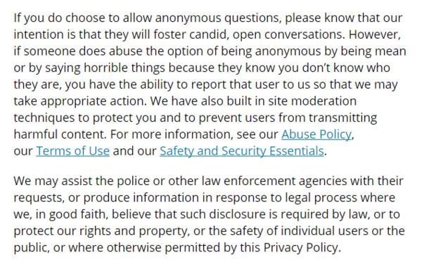 peraturan privacy policy di ask.fm