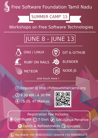 FSFTN Summer Camp on Free Software Technologies at IIT Madras – June 8 to June 13
