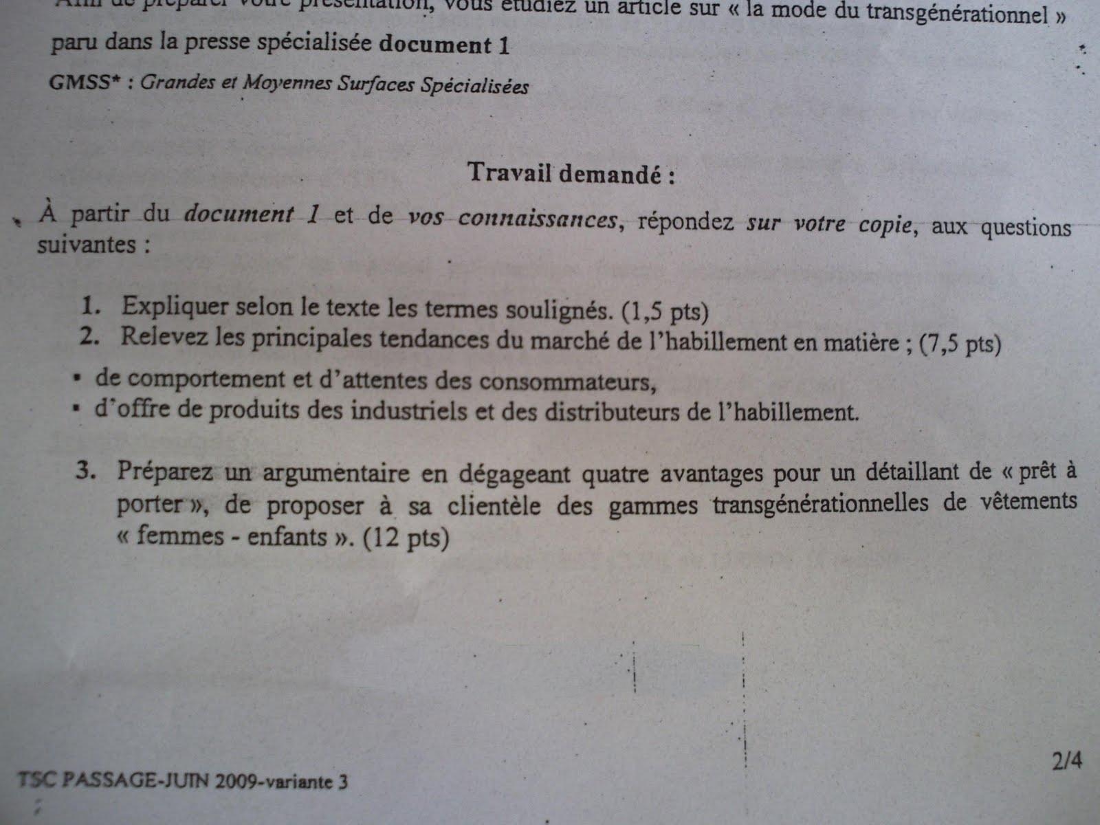 Examen de passage 2009 pratique variante 3 TSC 4