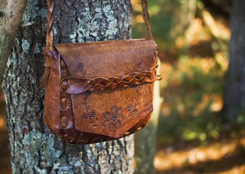 The Flying Clubhouse: Red Velvet // vintage tooled leather bag