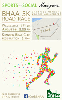 5k race in Cork City...Wed 16th Aug 2017