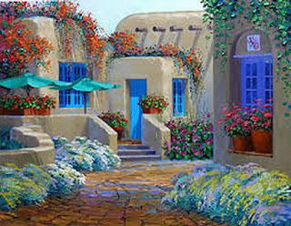 Paisajes de Casas con Flores Oleo