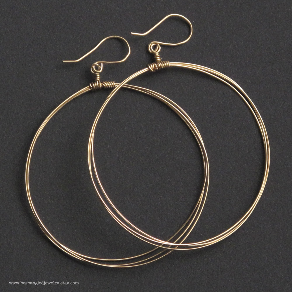 Bespangled Jewelry Large Wire Hoop Earrings In 14k Gold Fill Or Sterling Silver
