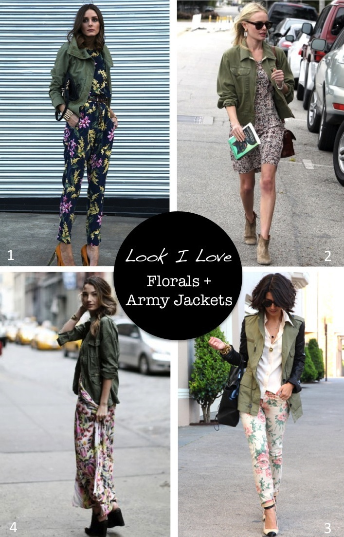 floral prints and army jackets