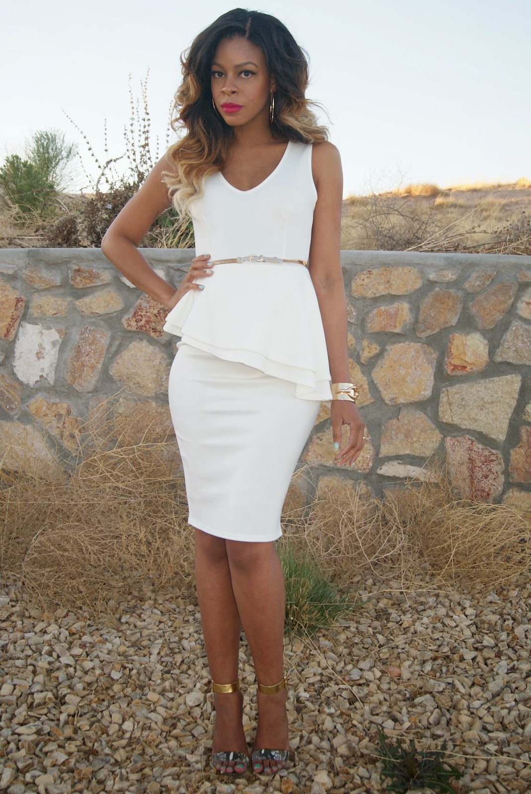 white peplum dress, white and gold outfit, allthingsslim, ombre hair,