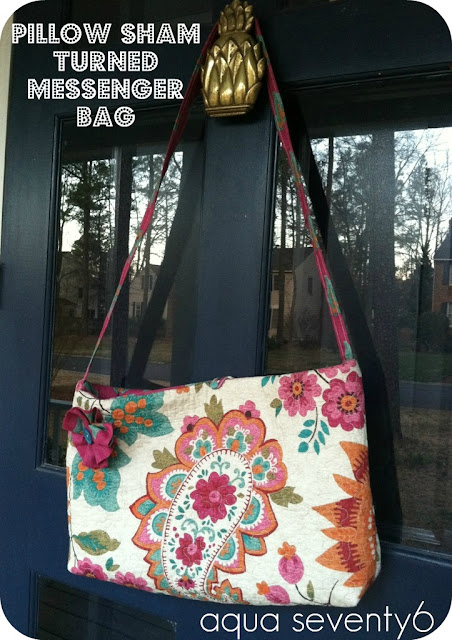 paisley patterned messenger bag from a pillow sham