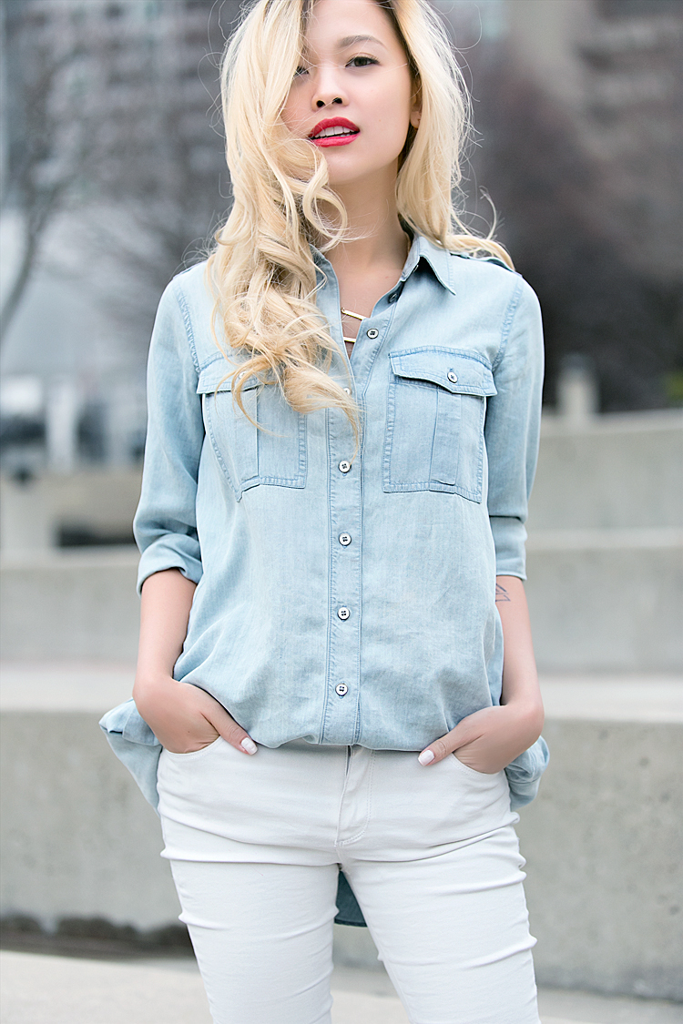 LIGHT DENIM SHIRT & WHITE JEANS – Love Between The Racks