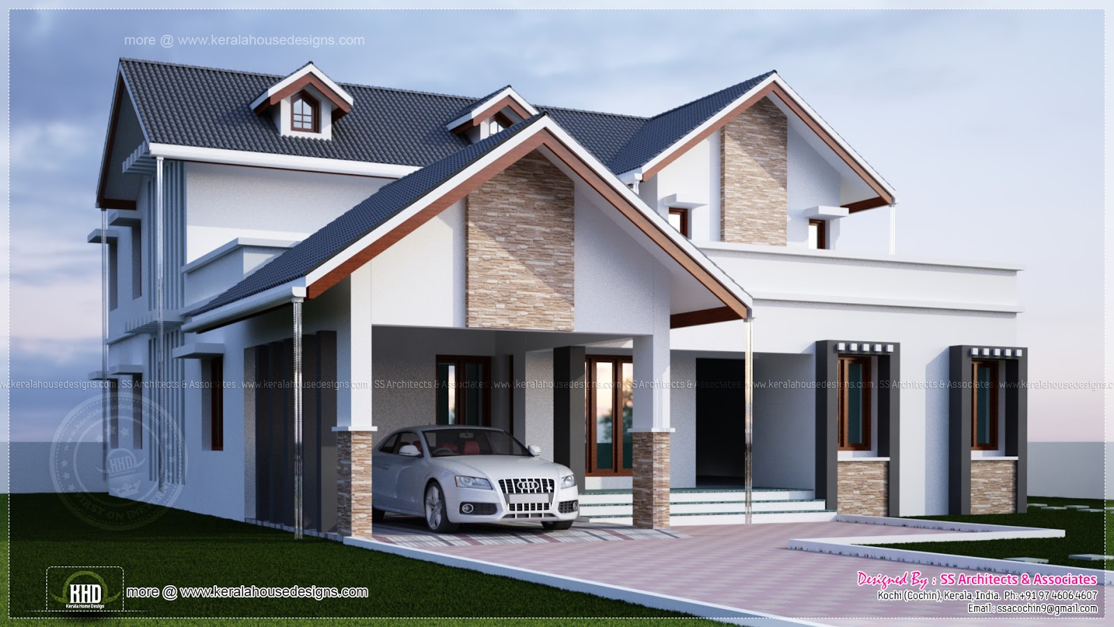 Modern 4 bedroom villa exterior home kerala plans for 4 bedroom villa plans