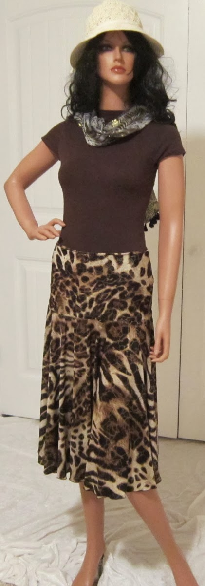 Wild Animal Print Full Circle Skirt in Brown and Gold