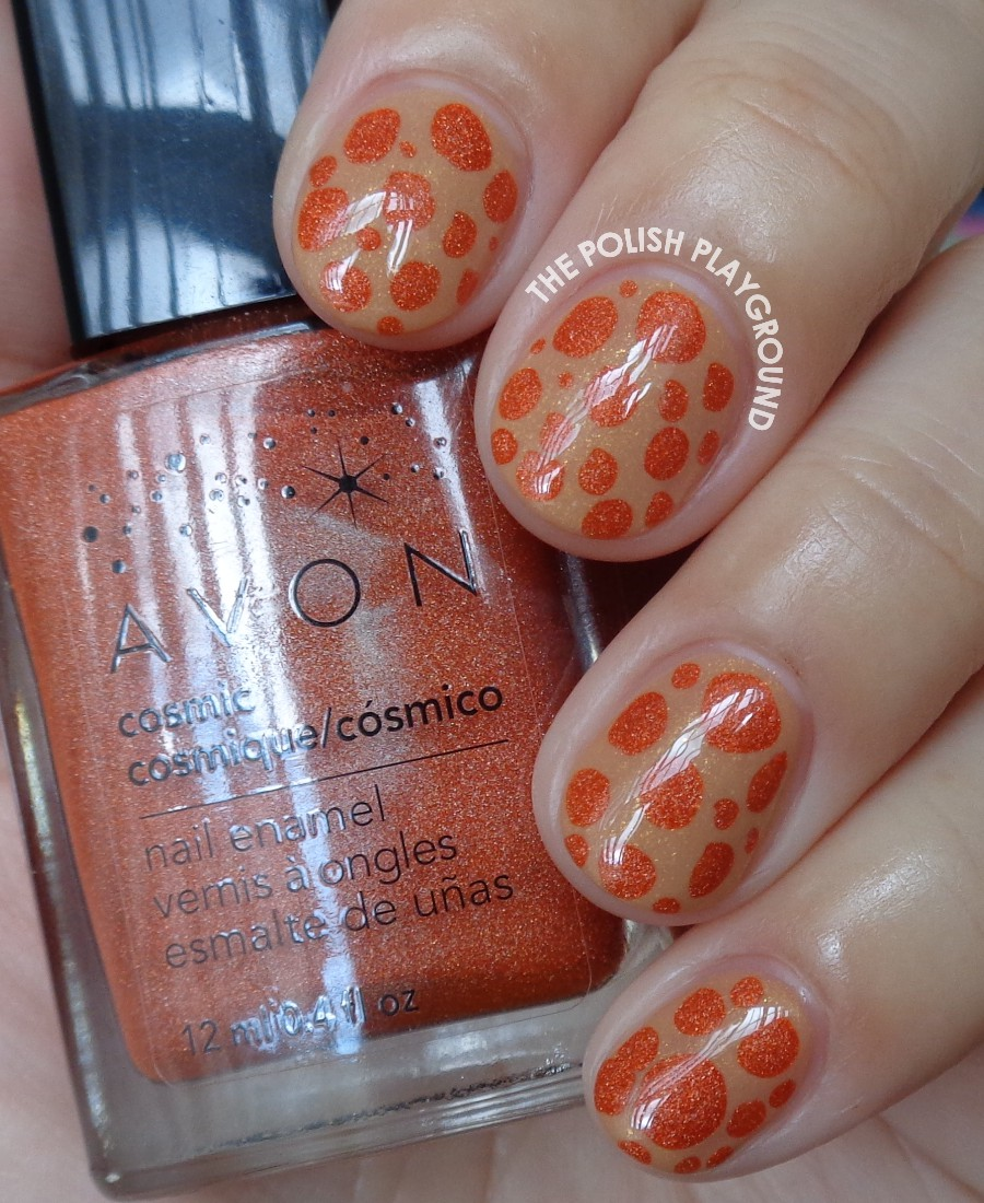 Neutral and Orange Blobbicure Nail Art