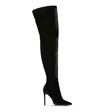 Gianvito Rossi black suede over the knee stiletto boots