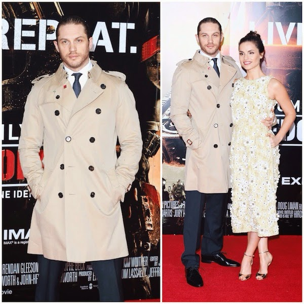 Tom Hardy in Burberry classic trench coat - 'Edge Of Tomorrow' - UK Film Premiere