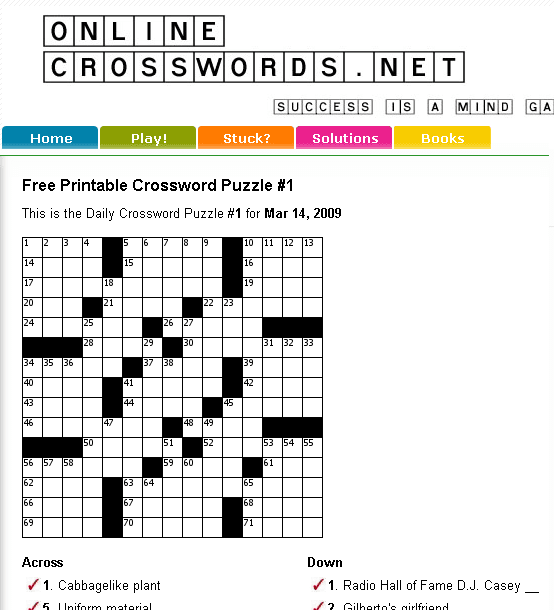 graphic relating to Free Daily Printable Crosswords known as Totally free On the web Crossword Puzzles