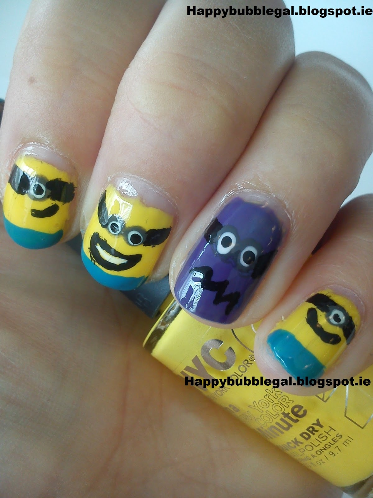 happy bubble gal discipable me minion nail art