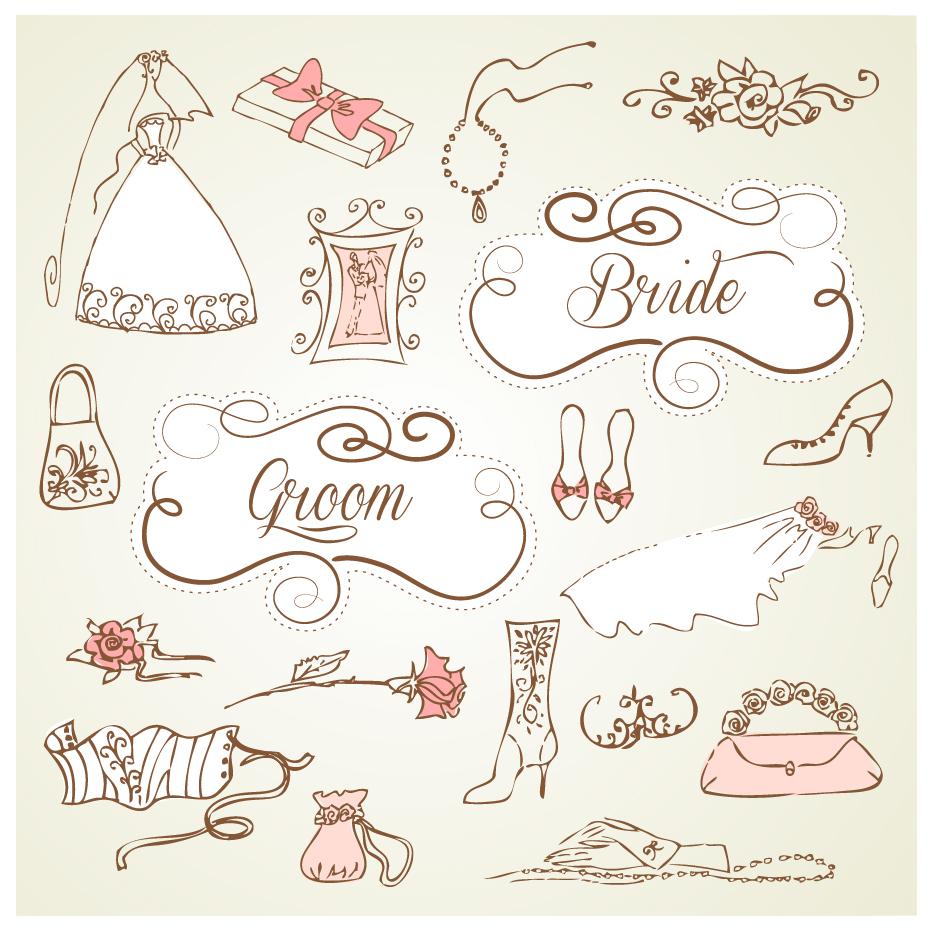 結婚式の招待状を飾るデザイン要素 decorative wedding design elements with vintage wedding  invitation cards イラスト素材