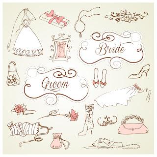 結婚式の招待状を飾るデザイン要素 decorative wedding design elements with vintage wedding invitation cards イラスト素材2