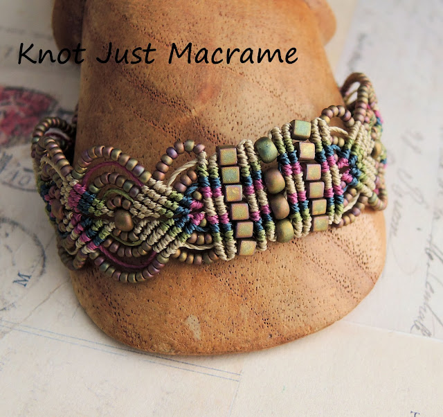 Micro macrame bracelet  in raku colors by Sherri Stokey