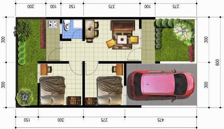 denah sketsa rumah type 36 modern