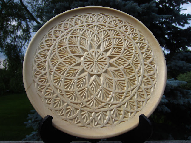 Ales the woodcarver finished chip carved plate