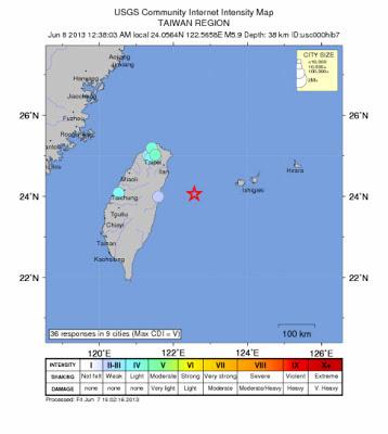 Epicentro sismo 5,9 grados en Taiwan, 07 de Junio 2013