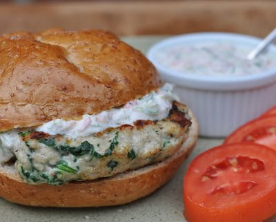 Chicken Burgers with Fresh Spinach, Feta and Garden Tzatziki Sauce, Greek-style chicken sandwich served with an updated Greek tzatziki sauce. For Weight Watchers, #PP5.