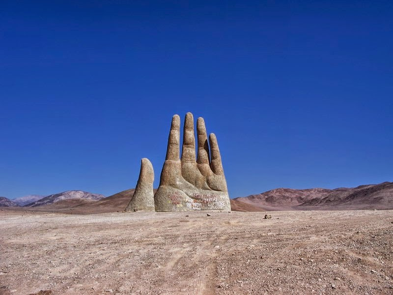 The Mano de Desierto | Sculpture of a Giant Hand located in the Atacama Desert, Chile