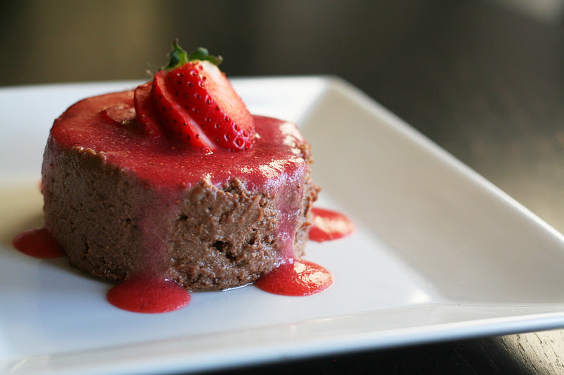 Chocolate Ricotta Pudding with Strawberry Coulis