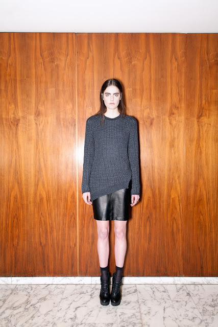 Ried sweater, leather pencil skirt