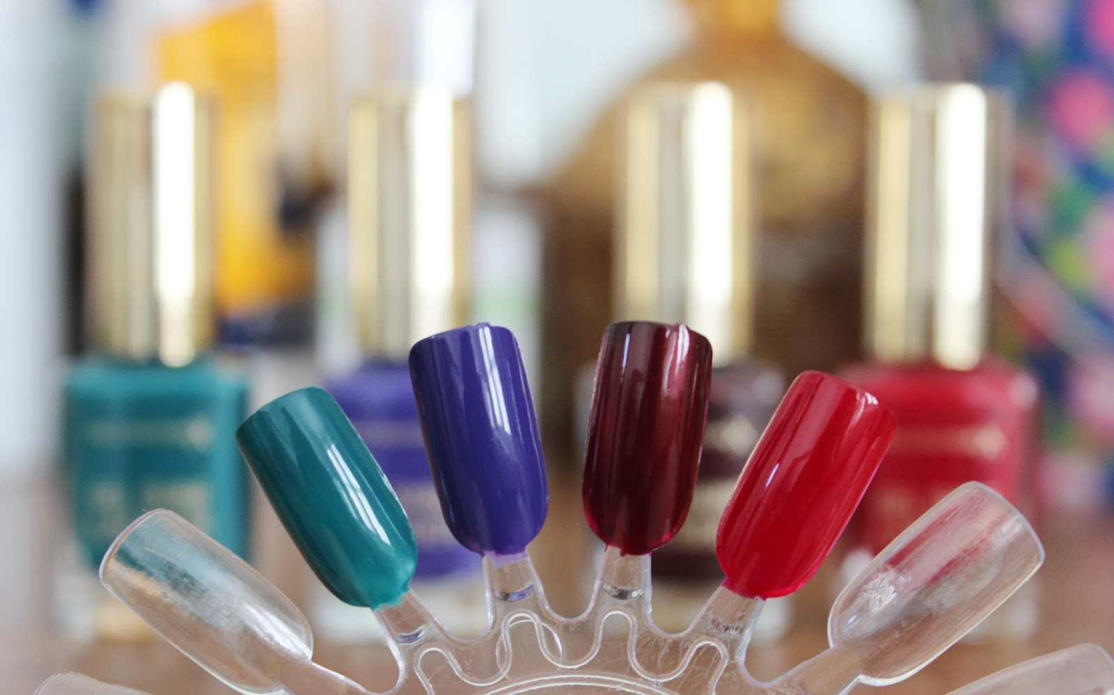 Max Factor Gel Shine lacquer nail polish swatches Gleaming Teal, Lacquered Violet, Sheen Merlot, Patent Poppy