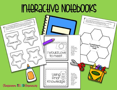 Interactive Notebooks with scissors, glue and crayons