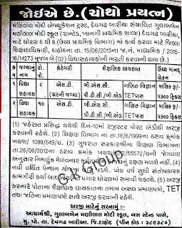 vidyasahaaka bharti zagadiya and dahod in privete school