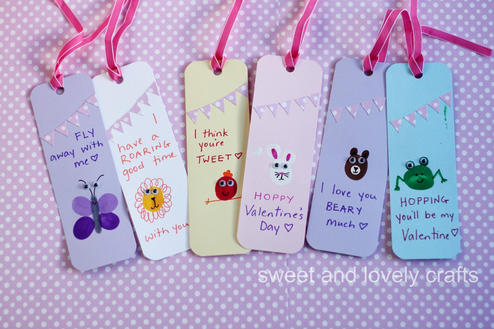 Sweet and lovely crafts thumbprint valentine day bookmarks for Simple bookmarks