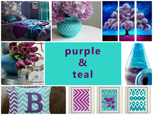 purple and teal combination for home decoration