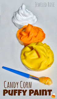 Homemade candy cor paint recipe perfect for Fall.  Easy to make and dries puffy!