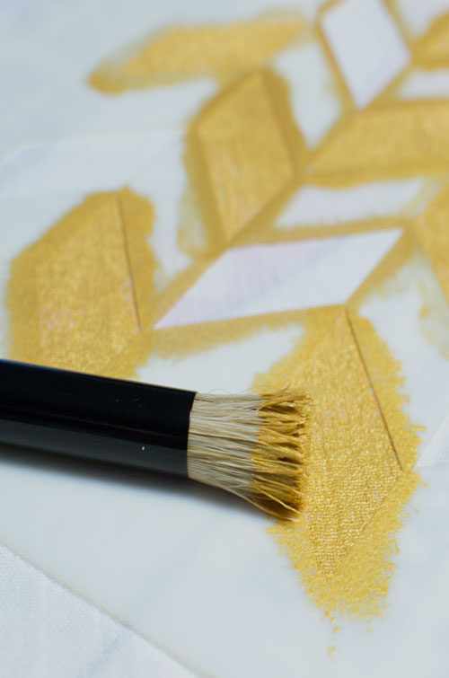 painting royal designs herringbone stencil in bright gold