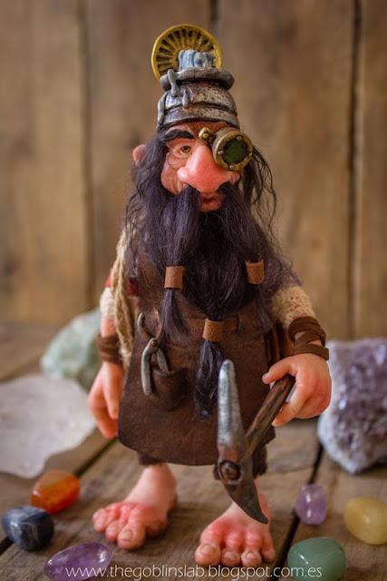 ooak fantasy polymer clay doll dwarf