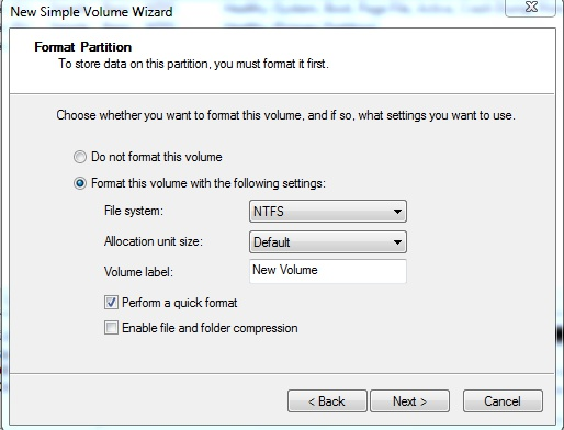 how to create new partition