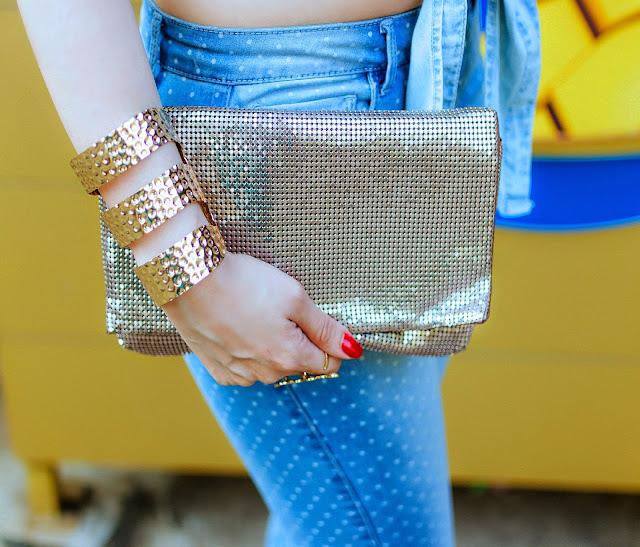 Sequin Clutch, Gold cuff bracelet