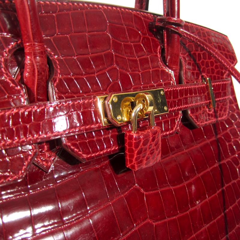 sac hermes croco rouge rubis