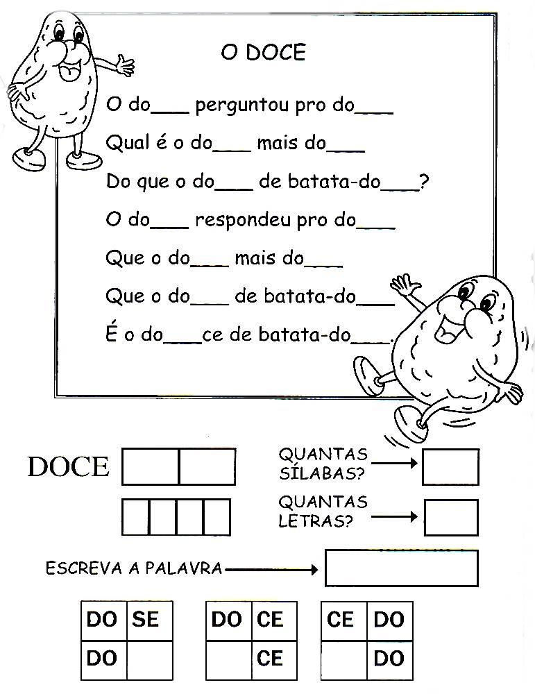 Desenhos Preto e Branco trava lingua com atividades Colorir