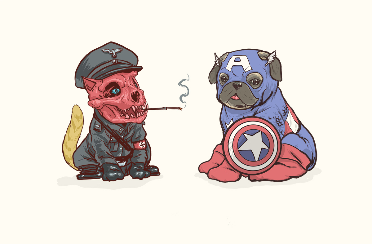 04-Captain-America-And-Red-Skull-Josh-Lynch-Illustrations-of-Dogs-with-Marvel-Comic-Alter-Egos-www-designstack-co