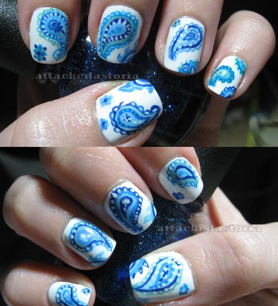 Paisley Nail Art: Attackedastoria Nails: Blue Paisley