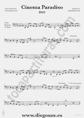 Tubescore Cinema Paradiso by Ennio Morricone Sheet music for Cello Bassoon and English Horn