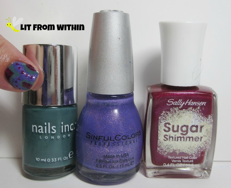 Bottle shot: Nails Inc Green Park, Sinful Colors Purple Gleam, and Sally Hansen Sugar Shimmer Cinny Sweet.