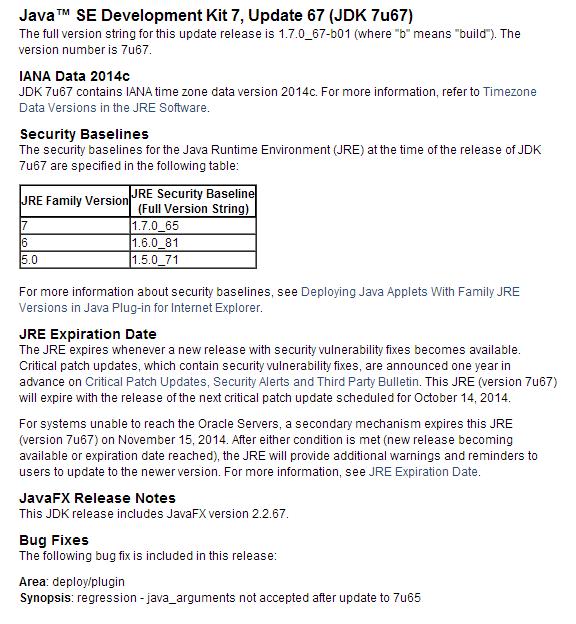java version 7 update 67
