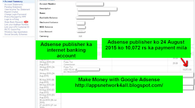 Google Adsense publisher ko Adsense ke dwara 10,072 rs ka payment mila hai-see screenshot