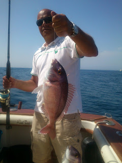 Snapper, fishing boat charter. Bottom fishing. Deep sea.
