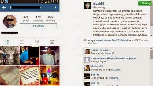 Alyah Muatnaik Gambar Akaun Pengikut Biadap Di Instagram, info, terkini, hiburan, kontroversi Ramli MS dan Alyah, sensasi,