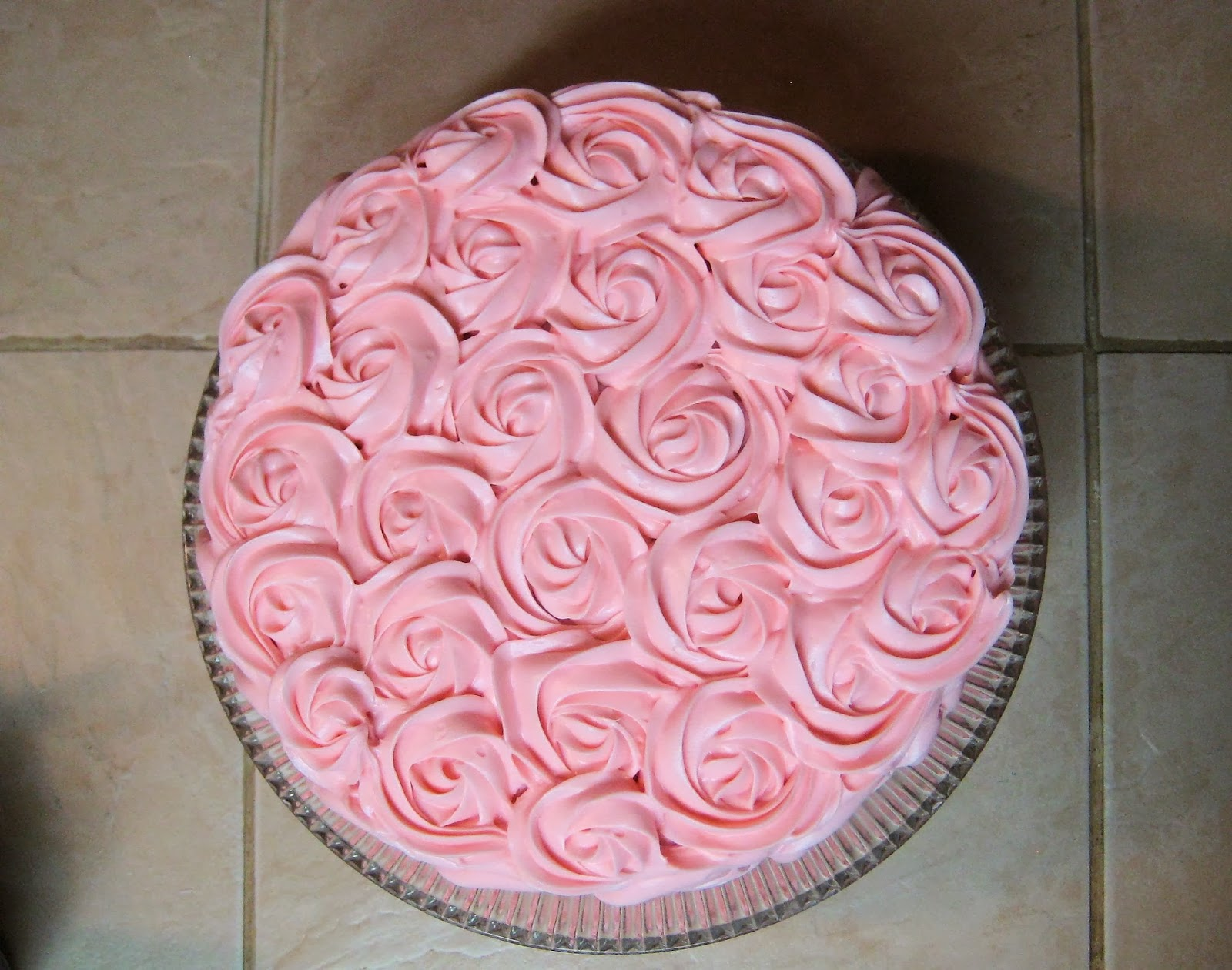 Shabby Chic Baby Shower Pink Rose Cake -Overhead View