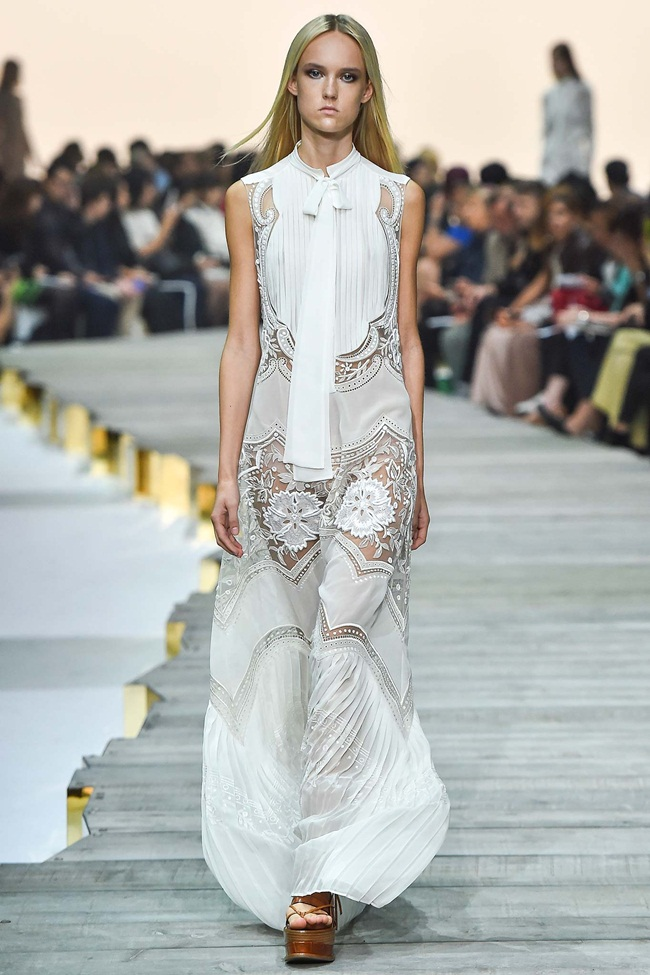 Roberto Cavalli Spring 2015 White Embroidered Silk-Georgette Maxi Dress on Runway